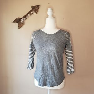 🌸3 for 12🌸 J. Crew Gray 3/4 Sleeve Baseball Tee